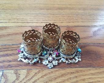 Dainty Floral Gold Gilt Lipstick Holder w/ Rhinestones  - Hollywood Glam Burlesque Decor Vanity Bathroom Girly Sparkle Beauty Cosmetics