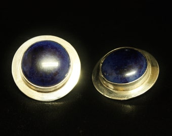 """Vintage Taxco Lapis Lazuli Sterling Silver Clip-on 1.12"""" Wide"""