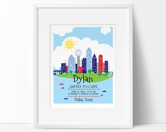 London nursery london skyline personalized baby gift birth dallas skyline personalized baby gift texas nursery texas baby printable birth stats negle Image collections