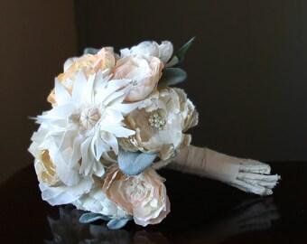 Hand pressed silk fabric flower bouquet. Hand painted vintage silk satin dress fabric flowers