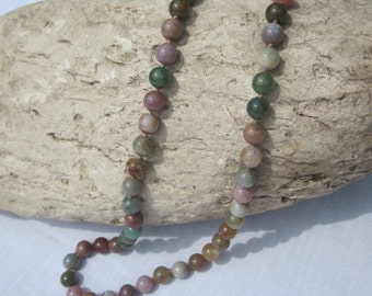 Polished Stone Bead Necklace in Pinks, Greens and Browns