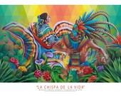 La Chispa de La Vida, Mexican Art, Painting, Mural, Print, Ballet Folklorico, Latin American Art, Antiquity, Agave, Nopales, Flowers