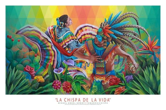 La chispa de la vida mexican art painting mural print for Arte mural mexicano