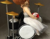 Drummer Groom Wedding Cake Topper - FREE SHIPPING USA only - A500