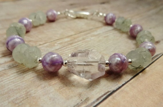 Amethyst, Prehnite and Pearl Bracelet, Amethyst, Lavender Pearls and Prehnite Bracelet, Lavender and Green Jewelry, gemstone bracelet