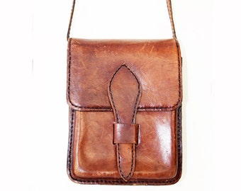 Vintage Leather Messenger Tote Bag