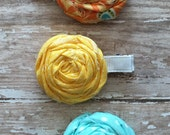 Summer Fun Rosette Trio Orange Aqua Yellow  Rolled Frayed Fabric Rosette Hair Clip Set Babies-Toddlers-Girls-Women