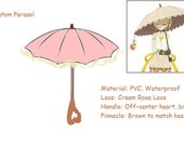 Pink Parasol with Cream Lace, Custom Made, Heart Shaped Handle