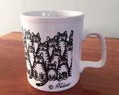 Vintage Kliban Cat Mug Multiple Cats
