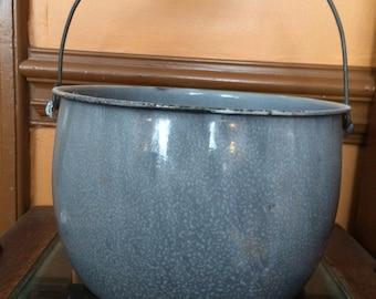 Big Graniteware Pot or Bucket With Wood Bail Handle