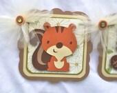 Woodland / forest animals / baby shower / birthday banner, photo prop /  gender neutral, gender reveal, ivory, cream and brown