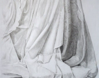 Original Pencil Drawing. Drawing of drapery.