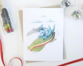 Sloth Bobsled Holiday Greeting Card