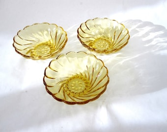 Set Of 3 Amber Glass Bowls Dishes Serving Brown Gold
