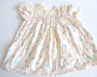 Vintage Preschool Girl's 1940s Tiny Pony Novelty Print Dress Baby Loomcraft