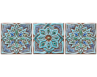 Ceramic wall art Moroccan wall hangings, outdoor wall art with Moroccan design, Moroc 15cm, 3 tiles, turquoise
