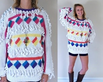 Half Off vtg 80s COLORFUL chunky knit FRINGE SWEATER Medium avant garde oversized squares striped geometric