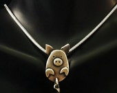 Sterling Silver Pig Necklace - With Moving Tail