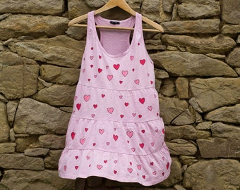 Powder Pink Tunic Top with Red and Pink Hearts Size L, Hand Painted Jersey Tunic Top