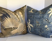 Nautical Decorative Pillow Cover in Tommy Bahama Island Song Ocean and Coordinating Palms Indoor/Outdoor Fabric