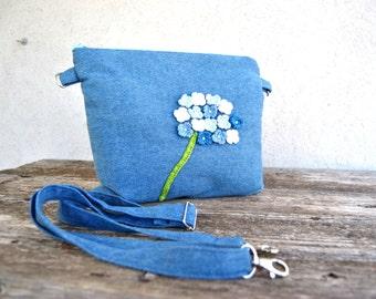 Hydrangea Canvas Zipper Tote Bag In Blue By Katiafabricstudio