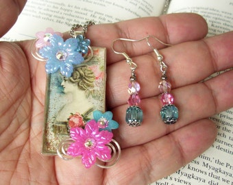Jewelry Set (S618) Necklace and Earrings, Victorian Lady Graphic Under Resin Pendant, Flowers, Crystal Dangles,  Silver, Pink and Blue