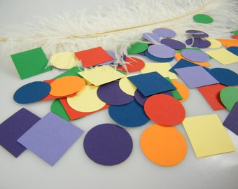 Rainbow Confetti Sprinkles - Wedding Table Decoration - Baby Shower Circle and Square Confetti - Fun - Happy Shapes  Birthday / 200 Pieces