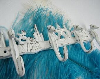 SALE Wall Hook / Coat Rack / Towel Rack / Turquoise Green or White  / Seahorses Coral Fish / Beach House Decor / Nautical  / Key rack / Gift