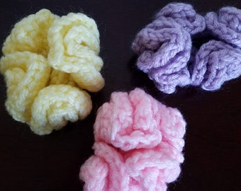 Pastel Crocheted Ponytail Holders in Soft Pink, Lavender and soft Yellow