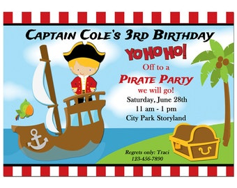Pirate Invitation Printable Printed with FREE SHIPPING - You pick Hair Color/ Skin Tone - Yo Ho Ho Collection