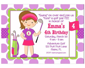 Girl's Golf Invitation Printable or Printed with FREE SHIPPING - You Pick Hair Color/Length & Skin Tone - Purple Dot Collection