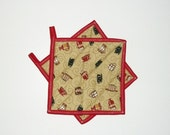 Pot Holders Quilted Coffee Cups Primitive Country Decor Set of 2