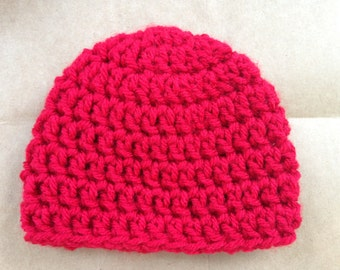 Preemie Baby Hat Beanie Red Crochet 1 to 3 pounds