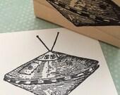 Flying Alien Spaceship  Rubber Stamp 6443