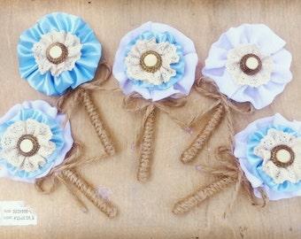 Blue boutonniere, grooms brooch, groomsmen buttonholes