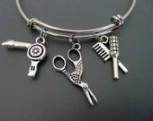 Hairstylist Bracelet /  Scissors Bangle / Hairdresser Bangle / Beautician Bangle / Barber / Adjustable Charm Bracelet / Expandable Bangle /