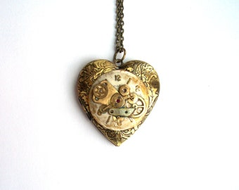 "Steampunk Heart Necklace Locket ""Memory of Love"" Valentine Necklace"