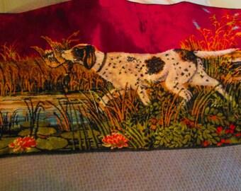 Vintage Hunting Dog Tapestry / 1970s Hunting Scene Mural / Vintage Rug
