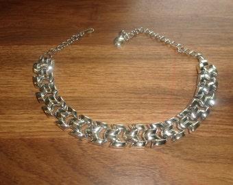 vintage necklace choker silvertone chain links