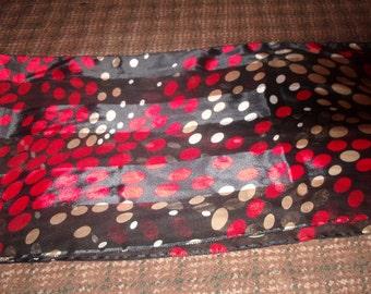 vintage ladies head neck scarf black red white polka dots oblong