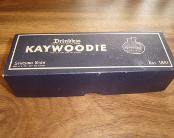 vintage smoking pipe tobacca 1949 drinkless kaywoodie box and advertisment