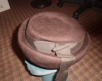 vintage ladies hat glenover henry pollak brown wool