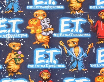 E.T. Fabric,  E.T. with Animals, E.T. the Alien, Phone Home, 1982 Movie,  ExtraTerrestrial, Steven Speilberg,  By the Yard
