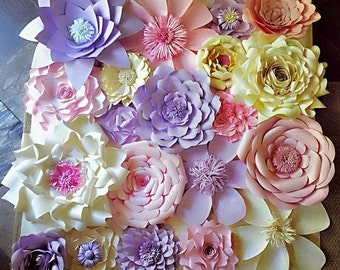 Paper Flowers Wall Decor - Wedding Decor - Home Decor - Paper Flower Backdrop - Baby Shower Paper Flowers - Photo Shoot - Backdrop