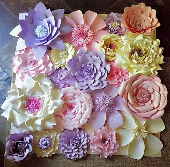 Paper flower wall decor wedding decor home decor paper - Flowers for home decor photos ...