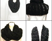 Outlander Inspired Cowl Knit Scarf Hood  Claire's Cowl Black Circular Hand Knit Neck Warmer Infinity Scarf Extra Long