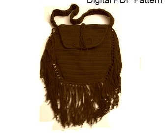 Crochet Boho Bag PDF Crochet Pattern Tribal Bag With Fringes Hippie Bag PDF File  Is not a finished product. It is a PDF Pattern