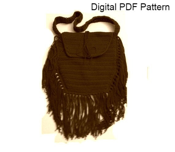 Crochet Boho Bag : Crochet Boho Bag PDF Crochet Pattern Tribal Bag With Fringes Hippie ...