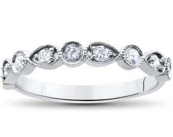 Stackable Diamond Ring, Diamond Wedding Ring, 1/4ct Vintage Diamond Wedding Anniversary 14K White Gold Stackable Guard Band