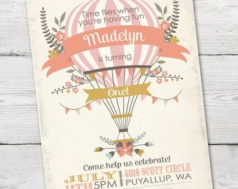 Hot Air Balloon Invitation, Hot Air Balloon Invitation Birthday, DIGTIAL, Hot Air Balloon Invitation Girl, Hot Air Balloon Party Invitation